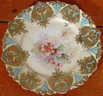 RS Prussia Plate, Flowers, gold, unmarked