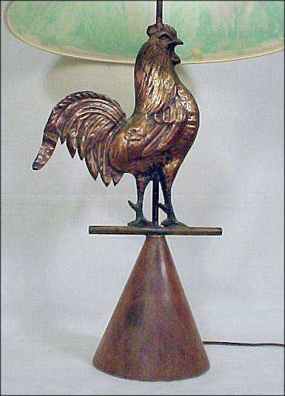 copper rooster lamp  made from a weathervane